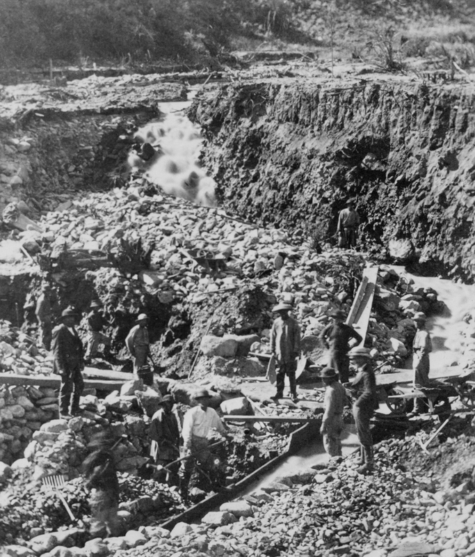 Chinese miners working a placer mine near Fairplay