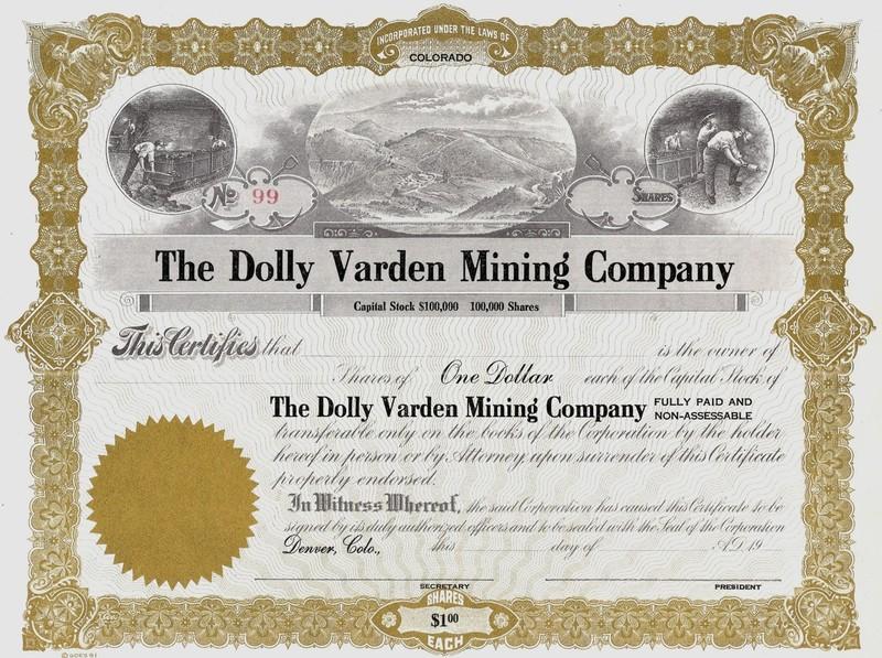 Dolly Varden Mine Stock Share Certificate