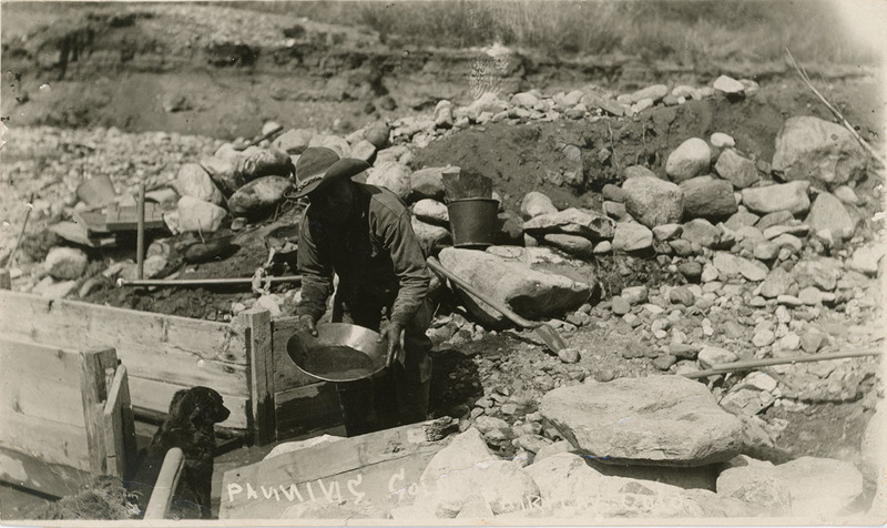 Postcard of unidentified man panning for gold in Fair Play, Colorado taken in the early 1900s