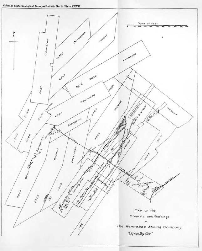 Map of the Property and Workings of the Kennebec Mining Company Orphan Boy Mine, 1912
