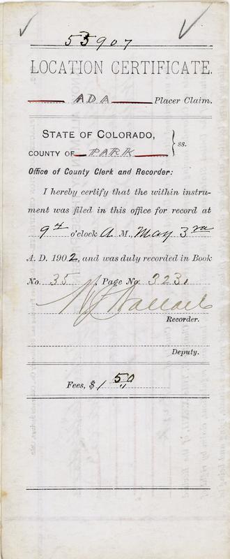 ADA Placer Claim, 1902
