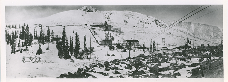 Panoramic photograph of a small mining town near London Mine